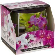 Orchidea illatmécses exkluzív üvegpohárban